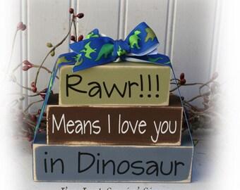 Rawr means I love you in dinosaur itty bitty wood blocks