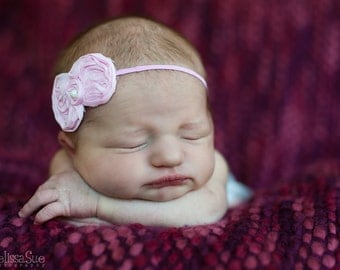 Petite Pink Shabby Chiffon Newborn Headband, Infant Headband, Baby Headband, Photo Prop