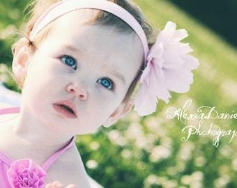 Pink Irredecent Flower Puff Headband, Girl's Headband, Toddler Headband, Infant Headband, Photo Prop