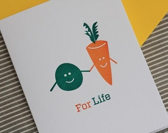 Peas & Carrots, Letterpress card (Single)