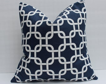 Navy Gotcha Pillow.Decorative.Throw Pillow Covers.Accent Pillows.Cushion Covers.Navy Blue Chain Link.