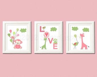 pink and green nursery art print set, 8x10, kids Room Decor, Wall Art - monkey, giraffe, monkey, love, punch color, Serena and lily