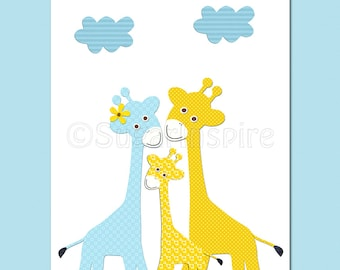 blue and yellow giraffe nursery art Print, 8x10, Kids Room Decor- giraffe family
