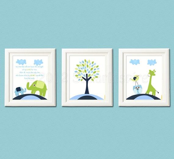 Navy Blue Wall Decor Nursery : Navy blue and green nursery art print set children wall