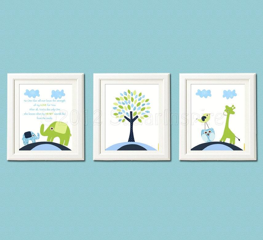 Navy Blue And Green Wall Decor : Navy blue and green nursery art print set children wall