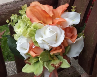 4 pc Beach Wedding / Destination Wedding / Tropical Flowers Coral Ivory and Lime Real Touch Silk Bridal Bouquet / Silk Wedding Flowers