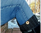 Chunky Boot Socks with Buttons , Boot Cuffs , Crochet Boot Toppers