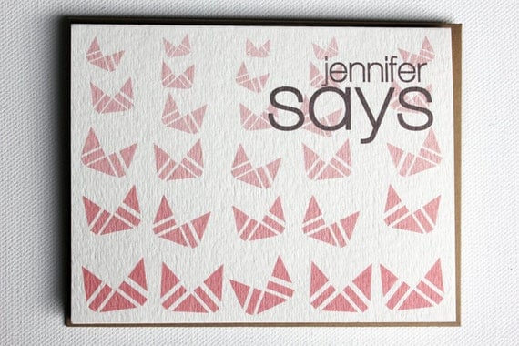 personalized cards- geometric dusty pink print custom cards - abstract origami ombre tulips - monogrammed cards - set of 10