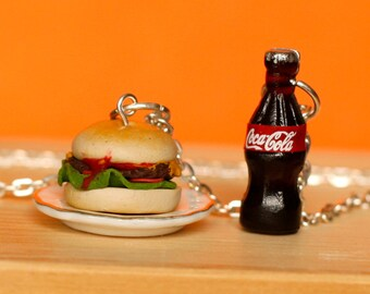 Burger and coke necklace, Kawaii jewelry, dollhouse miniature food jewelry
