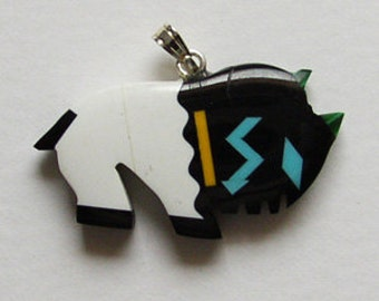 Zuni Inlayed Large buffalo  30mm