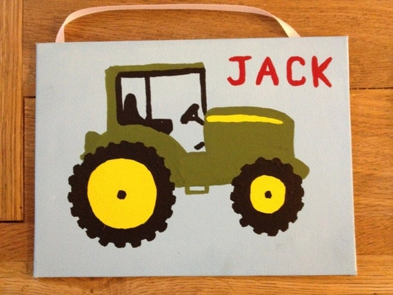 Items similar to Boys room John Deere green tractor painting canvas ...