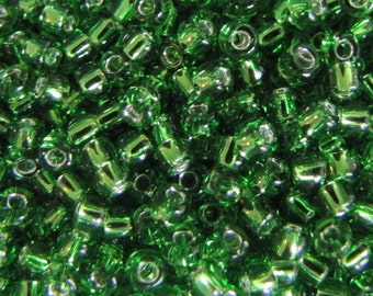 8/0 Seed Beads,  Silver Lined, Green Seed Beads,  15 grams #4987 Green Seed Beads, Seed Beads, Japanese glass beads  Crafts, Item #239