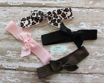 4 No Tug Elastic Hair Ties - Pink Cheetah, Black and Brown Ponytail Holders - Hairties