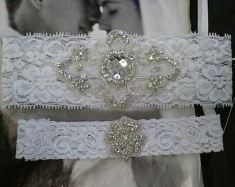 Bridal Garter, Wedding Garter and Toss Garter - Crystal Rhinestone White Garter Set - Style G2099-B