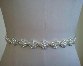 Wedding Belt, Bridal Belt, Sash Belt, Crystal Rhinestone & Off White Pearls - Style B20003