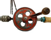 Vintage Red drill wood handlel hand crank Industrial Collectable tools
