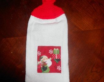 Christmas Hanging Towel, Santa Kitchen Towel, Crochet Towel, Kitchen Decor