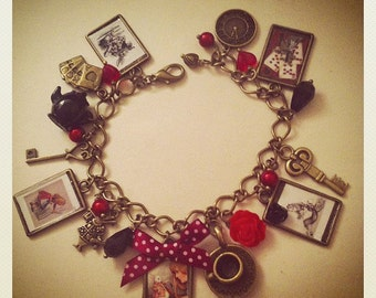 Alice In Wonderland charm bracelet. Queen of Hearts. Unique.  Handmade (FREE or LOW COST shipping)