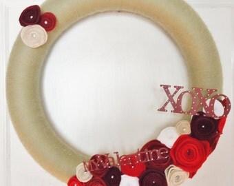 """14"""" Yarn Valentine Conversation Wreath"""