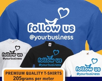 PERSONALISED follow us at Twitter custom business name womens mens T-shirt birthday gift