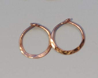 14k Rose Gold Hoops, Minimalist Small Solid Gold Hoop Earrings, 1/2 Inch 13mm Hammered Hoops