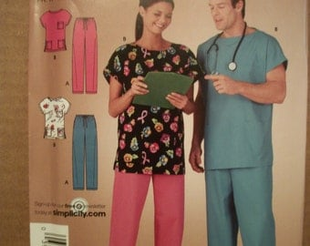 Simplicity 4644 Misses , Men's  and Teens (Size XS - XL) scrubs. Easy-to-sew.