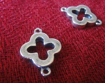 925 sterling silver oxidized  sideways cross charm, connector