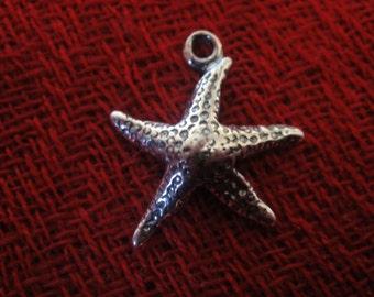 925 sterling silver oxidized  starfish charm 1 pc.