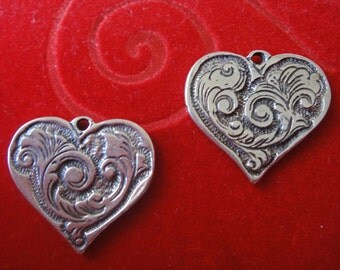 925 sterling silver oxidized heart charm, pendant, 1 pc.