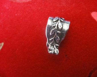 925 sterling silver large leaf bail, silver bail,large bail,leaf bail, sterling bail, bail, silver large bail