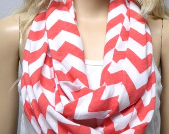 CORAL  & White Chevron Print  Infinity Scarf   Jersey Knit Gift Ideas