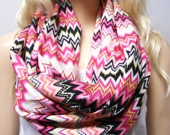 Colorful  Chevron Print  Infinity Scarf