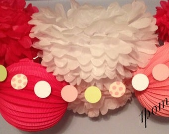 Strawberry Smoothie- 4 Tissue Paper Poms/4 Paper Lanterns  // Birthday/Nursery Decor/Baby Shower/Wedding/Bridal Shower