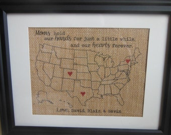 Mother's Day Gift for Wife or Mom, Burlap Present for Mom - Burlap Print with hearts in locations personalized