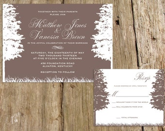 rustic trees and nature wedding invitation suite - customize with your words and colors - shown in taupe, coral and teal -
