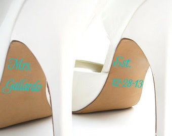 Personalized Bridal Accessories - Mrs Established Wedding Shoe Stickers
