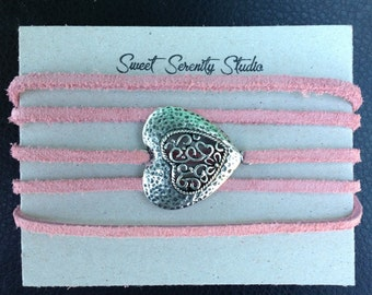 Suede Wrap Bracelet with Heart