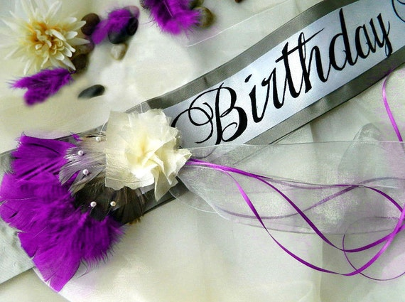 "Birthday Sash ""Allure"" with Flower Accent - Custom Colors and Message for 18th Birthday, 21st Birthday, 30th Birthday"