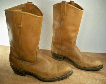 Vintage Mason Western Brown Leather Soft Toe Motorcycle / Cowboy Biker Men's Tall Boots Size 11 Made in USA