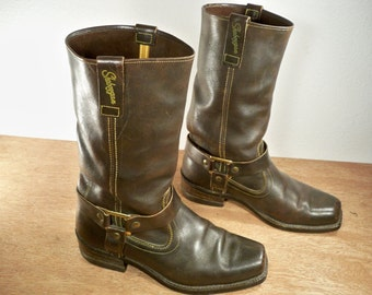 Vintage Sheboygan (MADE IN USA) Brown Leather Motorcycle Biker Men's Harness Riding Engineer Non-Steel Toe Boots Size 7.5 Wide