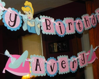 Cinderella Birthday Banner AND Name Banner