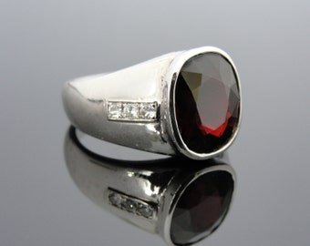 Vintage White Gold Mens Ring with Large Rare Fine Pyrope Garnet - 7YCEKU-D