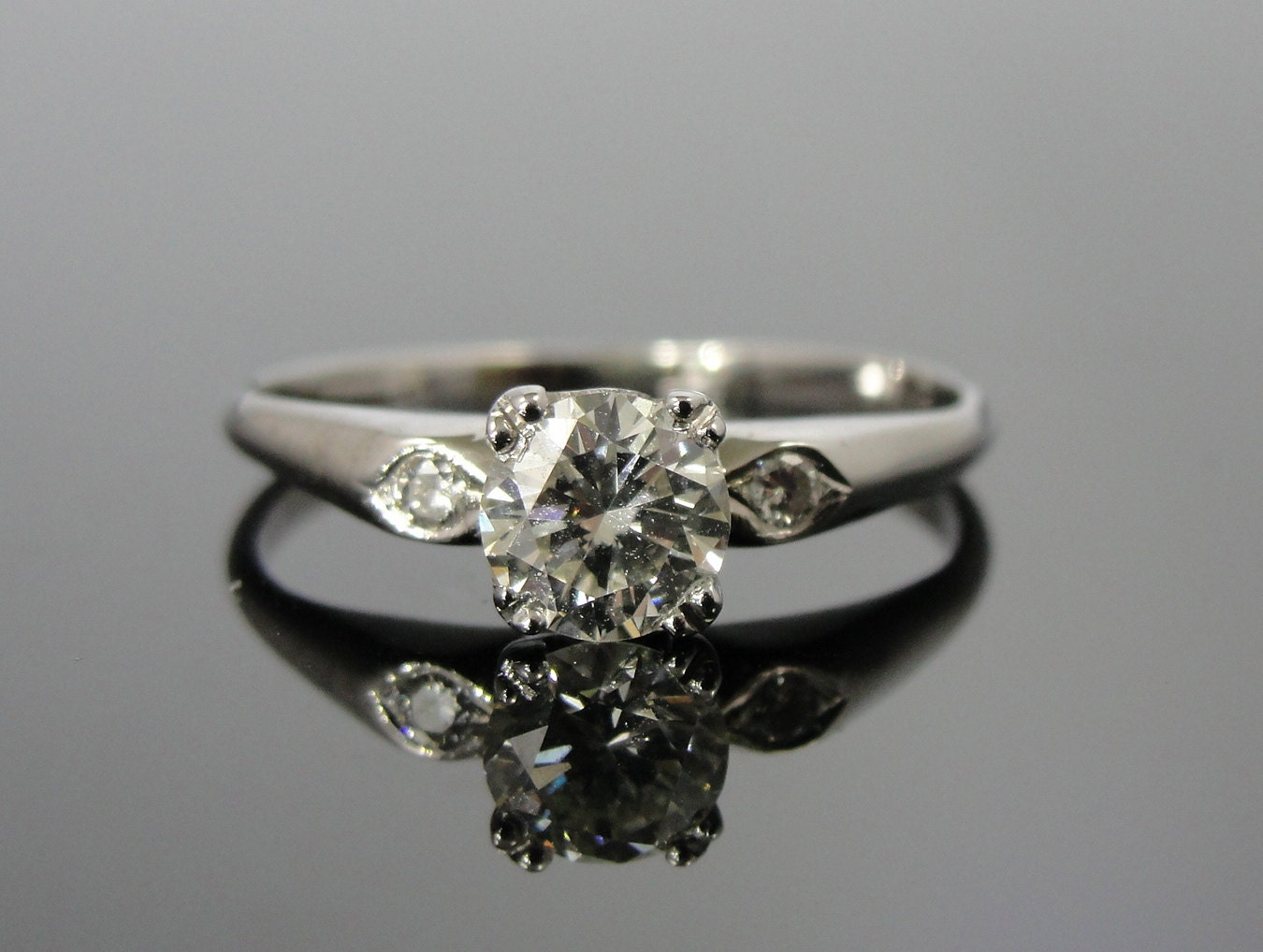 simple white gold diamond engagement ring vintage 1950s mid. Black Bedroom Furniture Sets. Home Design Ideas