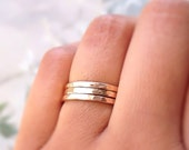 CLASSIC Gold Stack Rings,14k Gold Filled Stacking 3 Ring Set,Stacking Rings, Minimalist Jewelry, Gold Band Rings, Hammered Rings