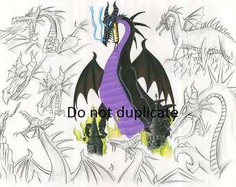 Sleeping Beauty Montage 3 - Malificent  Dragon 11 x 17 colored pencil print