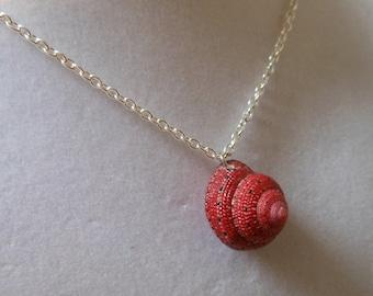 Seashell Necklace - Strawberry Top Seashell Necklace - Red Seashell Necklace - Seashell pendant