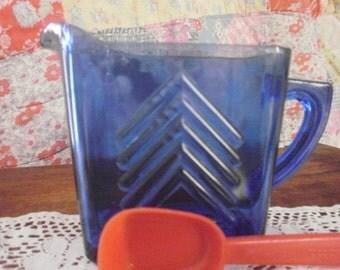 Cobalt Blue Chevron Hazel Atlas Creamer Art Deco style