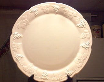 "WESTMORELAND paneled grape large 14"" milkglass platter"