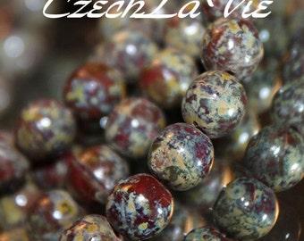 6mm Czech Druk Beads Red Picasso (0344)