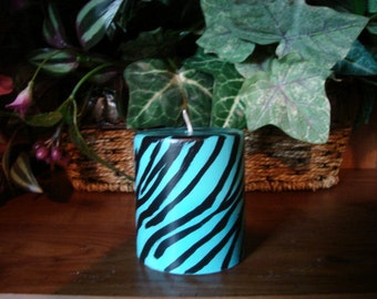 Zebra Stripped Turquoise Pillar Candle